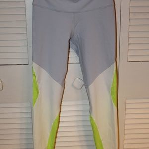 Reebok Lilac and Neon Yellow 7/8 Length Leggings